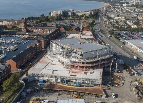 Aerial view of the Arena topping out