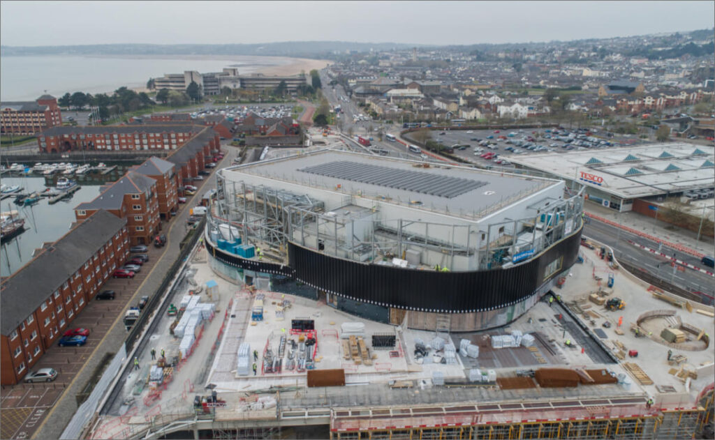 Drone footage of the Copr Bay arena under contruction, May 2021