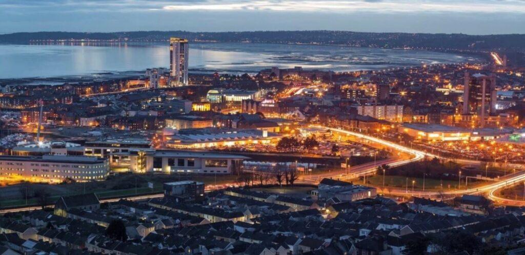 Swansea at night